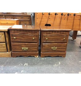 Pair 2 drawer nightstands / oak wrap n brass