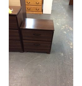 2 drawer nightstand / oak wrap w dark handles