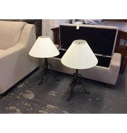 Pair lamps / metal n white