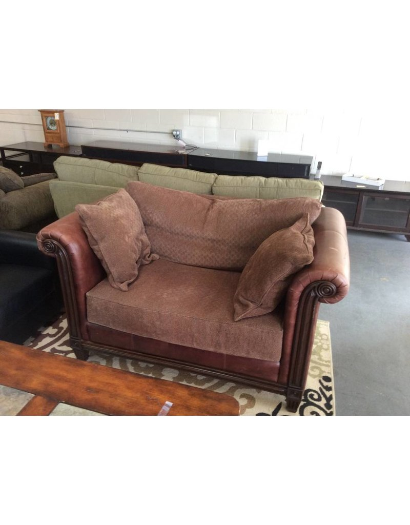 Brown leather wide chair