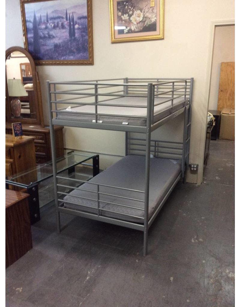 T / T bunk bed - grey metal w matts