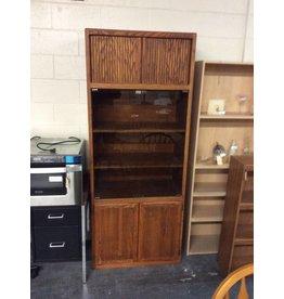 6' storage cabinet / wood n glass