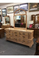 9 drawer dresser / pine w mirror n metal