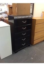 5 drawer chest / black n silver