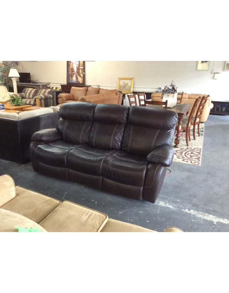 Dual reclining sofa /  brown leather - 8