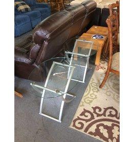 Pair end tables / metal n glass