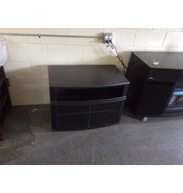 TV stand / black w glass doors