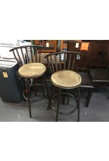 Pair barstools / metal n brown padded