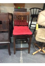 Pair barstools / cherry padded red