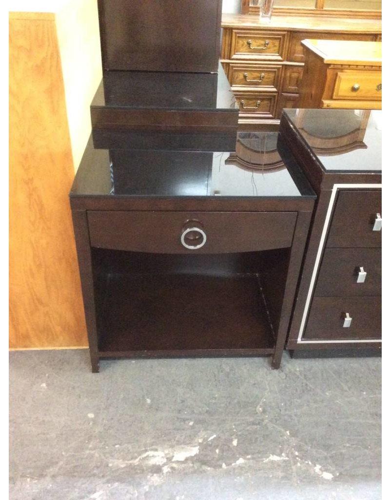 1 drawer nightstand /  espresso n glass