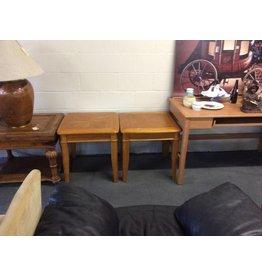 Pair end tables / pattern oak