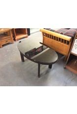 Coffee table / black glass oval