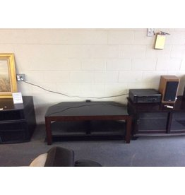 TV stand / 2 tier black glass