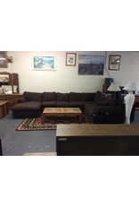 3 piece sectional / brown tweed w chaise - down