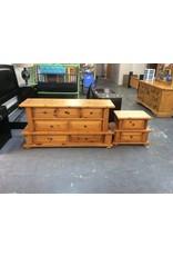 7 drawer dresser / 2 tier pine w nightstand