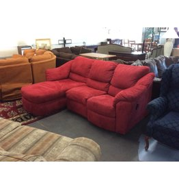 Sofa / red w recliner and chaise
