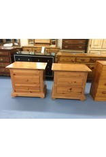 Pair nightstands / 2 drawer pine
