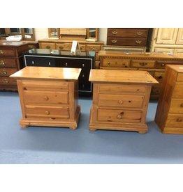 Pair nightstands / 2 drawer pine