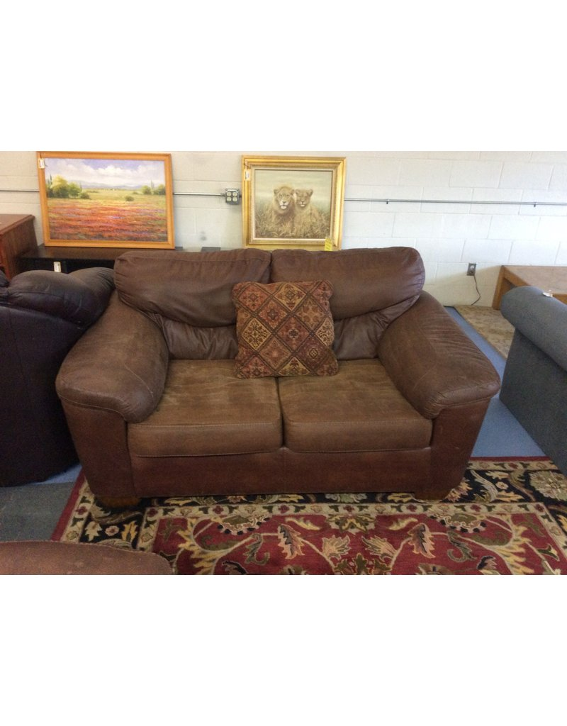 Loveseat / brown leather - 13