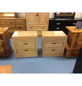 Pair nightstands /  2 drawer oak