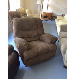 Wide rocker recliner / green tweed