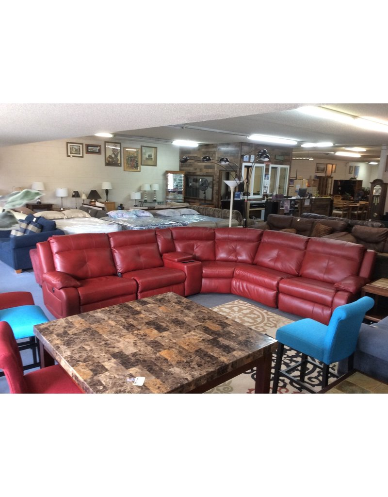 Electric 6 piece sectional / red leather w USB ports