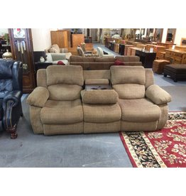 Dual reclining sofa / green tweed