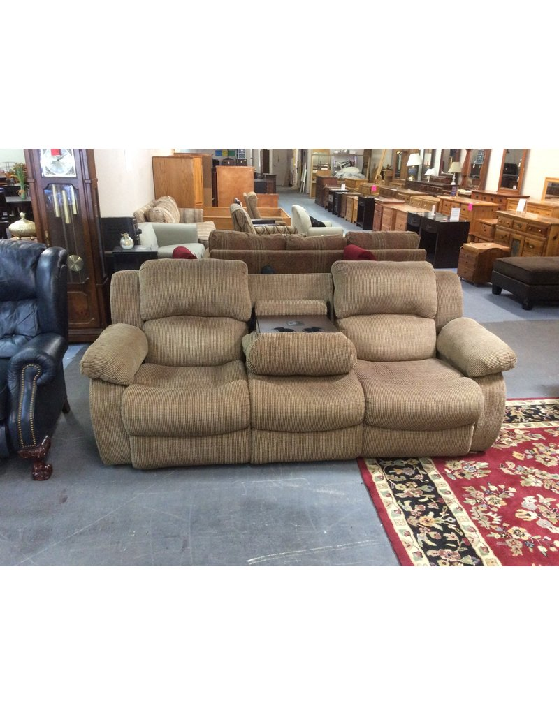 Dual Reclining Sofa Green Tweed Recycled Furniture