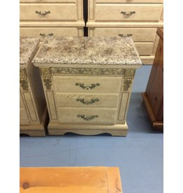 Pair 2 drawer nightstand /  faux top