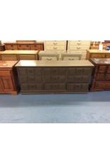 9 drawer dresser / brown w metal handles
