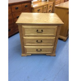 3 drawer nightstand / oak, black handles