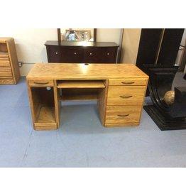 Desk / single ped, oak