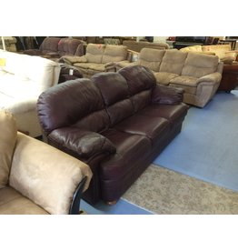 Sofa / brown leather w oak feet