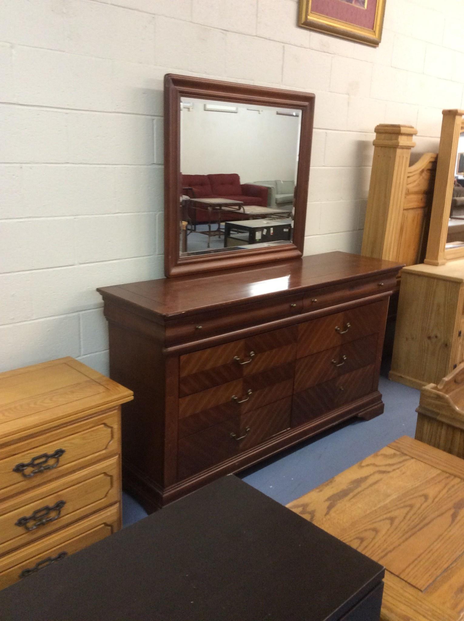 8 Drawer Dresser Cherry W Mirror Recycled Furniture