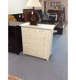 6 drawer chest / white n blue