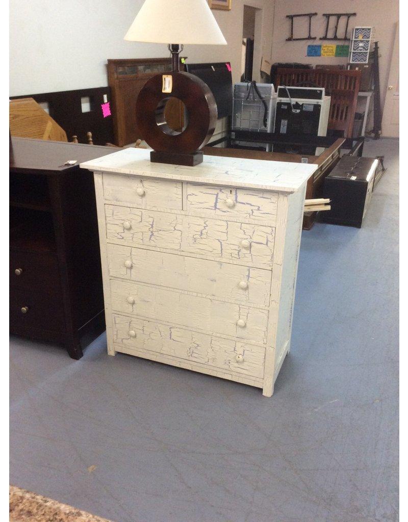 6 drawer chest / white n blue