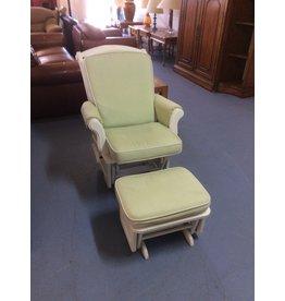 Glider w ottoman / white n green