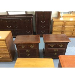 Pair nightstands / 2 drawer cherry