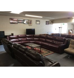 6 piece sectional / burgundy faux