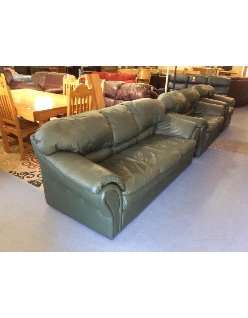 Sofa / dark green leather