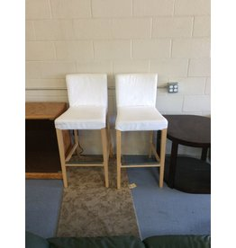 Pair barstools / blonde n white