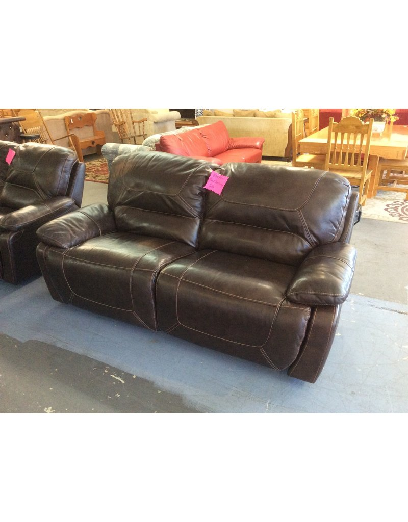 Electric dual reclining sofa / brown leather