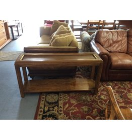 Sofa table / wicker n wood