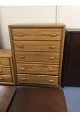 5 drawer chest /  oak, wood handles