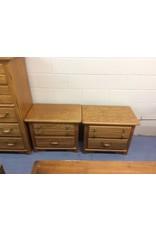 Pair 2 drawer nightstand / oak w metal handles