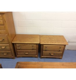 Pair 2 drawer nightstand / oak w metal handles