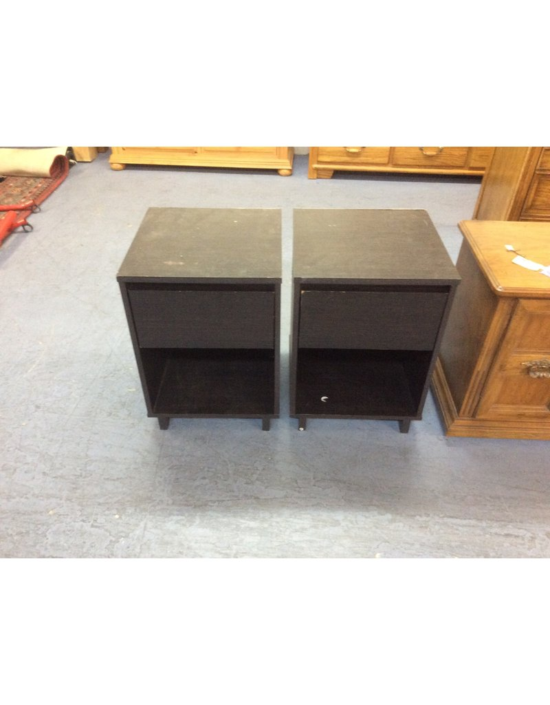 Pair 1 drawer nightstand / black