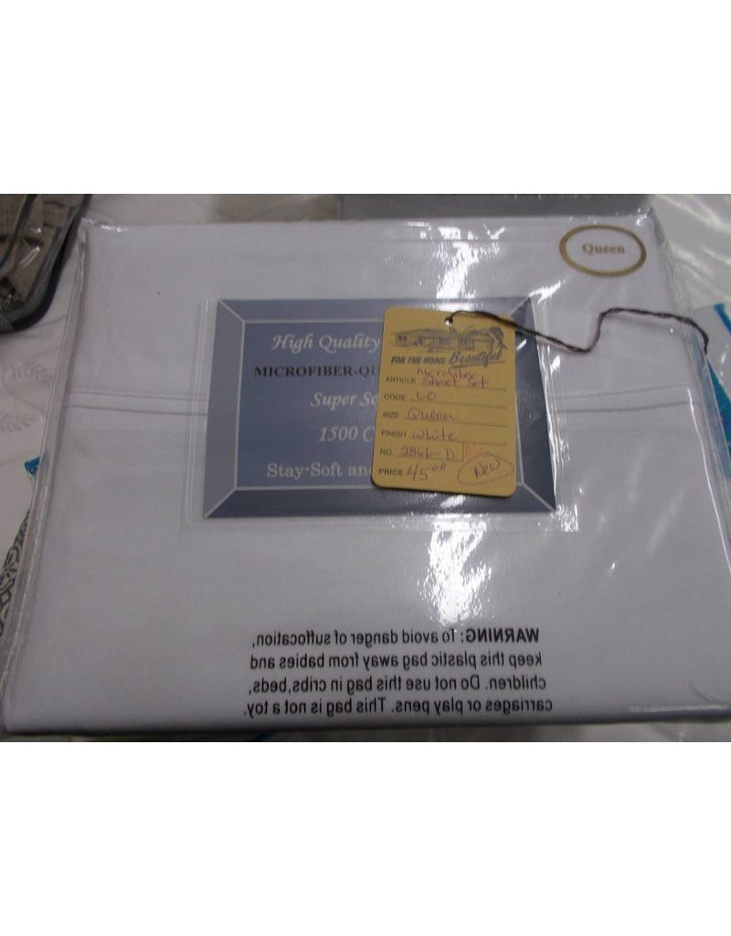 New Microfiber sheets queen white