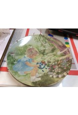 Decor plate girl in blue dress