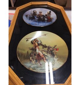 Shadow box with 2 decor plates indians and horses